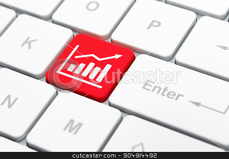 Advertising concept: Growth Graph on computer keyboard background stock photo, Advertising concept: computer keyboard with Growth Graph icon on enter button background, selected focus, 3d render by mkabakov