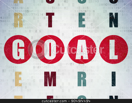 Advertising concept: Goal in Crossword Puzzle stock photo, Advertising concept: Painted red word Goal in solving Crossword Puzzle on Digital Paper background by mkabakov