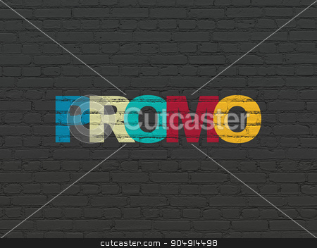 Marketing concept: Promo on wall background stock photo, Marketing concept: Painted multicolor text Promo on Black Brick wall background by mkabakov
