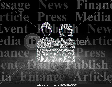 News concept: Anchorman in grunge dark room stock photo, News concept: Glowing Anchorman icon in grunge dark room with Dirty Floor, black background with  Tag Cloud by mkabakov