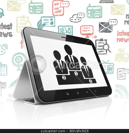 News concept: Tablet Computer with Business Team on display stock photo, News concept: Tablet Computer with  black Business Team icon on display,  Hand Drawn News Icons background by mkabakov