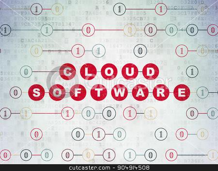 Cloud technology concept: Cloud Software on Digital Paper background stock photo, Cloud technology concept: Painted red text Cloud Software on Digital Paper background with Binary Code by mkabakov
