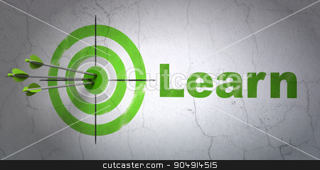 Education concept: target and Learn on wall background stock photo, Success Education concept: arrows hitting the center of target, Green Learn on wall background by mkabakov