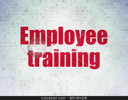 Learning concept: Employee Training on Digital Paper background stock photo, Learning concept: Painted red word Employee Training on Digital Paper background by mkabakov