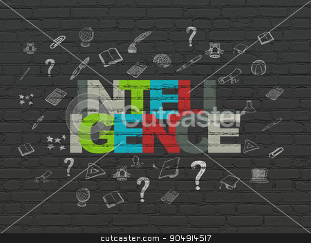 Education concept: Intelligence on wall background stock photo, Education concept: Painted multicolor text Intelligence on Black Brick wall background with  Hand Drawn Education Icons by mkabakov