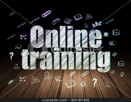 Learning concept: Online Training in grunge dark room stock photo, Learning concept: Glowing text Online Training,  Hand Drawn Education Icons in grunge dark room with Wooden Floor, black background by mkabakov