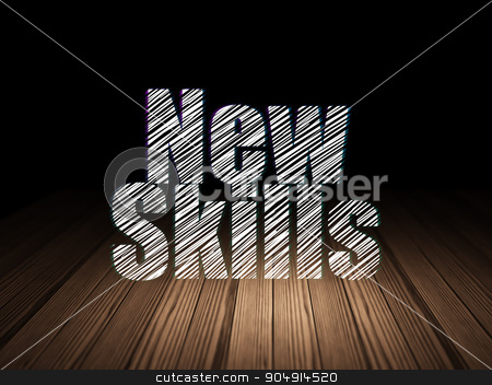 Education concept: New Skills in grunge dark room stock photo, Education concept: Glowing text New Skills in grunge dark room with Wooden Floor, black background by mkabakov