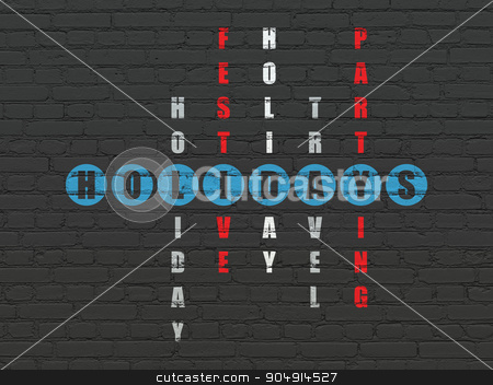 Holiday concept: Holidays in Crossword Puzzle stock photo, Holiday concept: Painted blue word Holidays in solving Crossword Puzzle by mkabakov