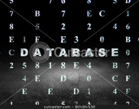Programming concept: Database in grunge dark room stock photo, Programming concept: Glowing text Database in grunge dark room with Dirty Floor, black background with Hexadecimal Code by mkabakov
