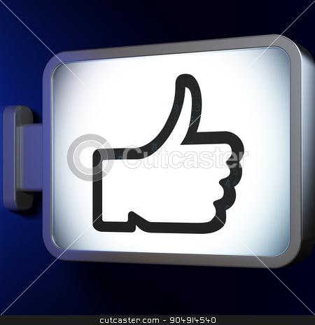 Social media concept: Thumb Up on billboard background stock photo, Social media concept: Thumb Up on advertising billboard background, 3d render by mkabakov