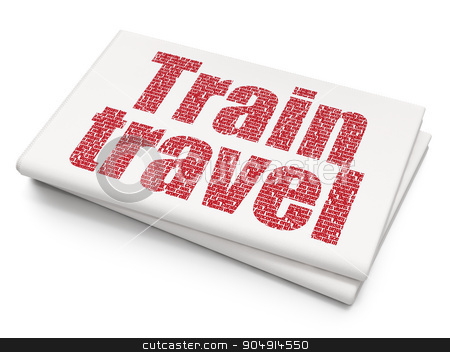 Vacation concept: Train Travel on Blank Newspaper background stock photo, Vacation concept: Pixelated red text Train Travel on Blank Newspaper background by mkabakov