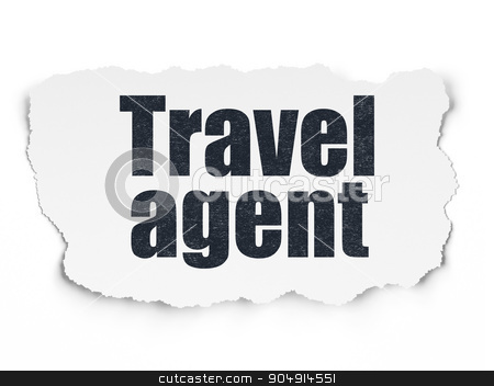 Tourism concept: Travel Agent on Torn Paper background stock photo, Tourism concept: Painted black text Travel Agent on Torn Paper background with  Hand Drawn Vacation Icons by mkabakov