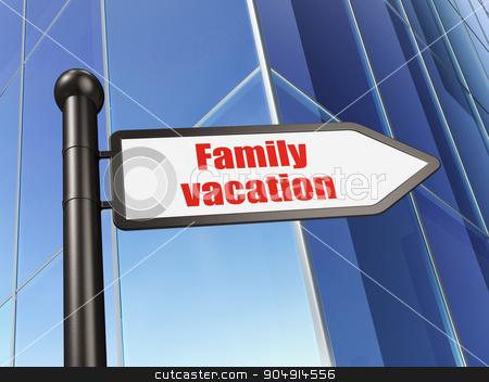 Tourism concept: sign Family Vacation on Building background stock photo, Tourism concept: sign Family Vacation on Building background, 3d render by mkabakov