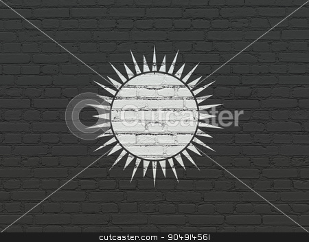 Travel concept: Sun on wall background stock photo, Travel concept: Painted white Sun icon on Black Brick wall background by mkabakov