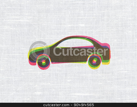 Vacation concept: Car on fabric texture background stock photo, Vacation concept: CMYK Car on linen fabric texture background by mkabakov