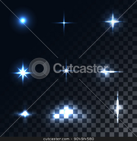 Set optical effects stock vector clipart, Set optical effects. Bright light rays and glare. Vector elements. Holiday and magic by olegkozyrev