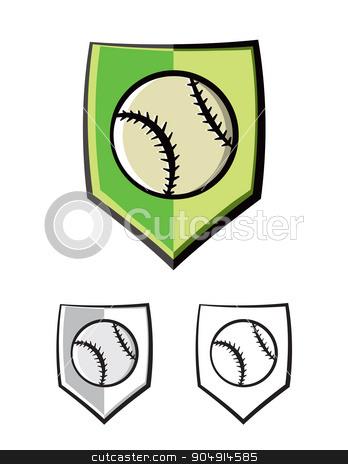 Baseball Shield Emblem Icons Illustration stock vector clipart, A baseball shield emblem. Vector EPS 10 available. by Jason Enterline