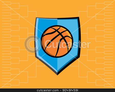 Basketball Emblem and Tournament Background stock vector clipart, A basketball emblem with tournament bracket. Vector EPS 10 available. by Jason Enterline