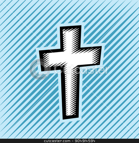 Cross Hatch Scratchboard Christian Cross stock vector clipart, An illustration of a Christian cross created in hatched scratchboard illustrative technique. Vector EPS 10 available. by Jason Enterline