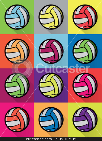 Colorful Volleyball Icons Background Illustration stock vector clipart, Colorful volleyball icons checkered in various bright background colors. Vector EPS 10 available. by Jason Enterline