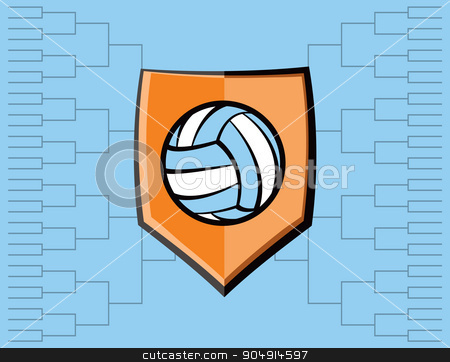 Volleyball Emblem and Tournament Background stock vector clipart, A volleyball emblem with tournament bracket. Vector EPS 10 available. by Jason Enterline