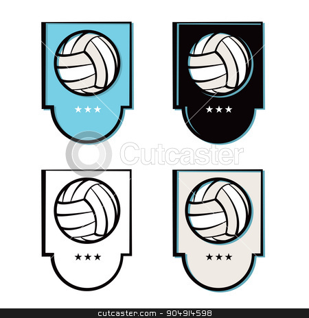 Volleyball Emblem Icons Set stock vector clipart, A set of volleyball emblems and icons in various shades and colors. Vector EPS 10 available. by Jason Enterline
