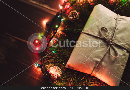 Cozy Christmas background stock photo, Christmas craft rustic gift closeup on the wooden table by sunapple