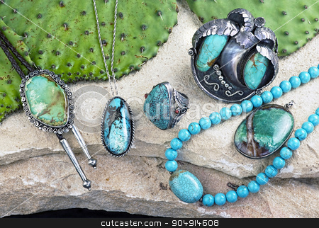 Old Navajo Turquoise. stock photo, Old Native American Navajo indian turquoise jewelry. by WScott