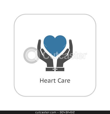 Heart Care Icon. Flat Design. stock vector clipart, Heart Care Icon with Hands. Flat Design Isolated. by Vadym Nechyporenko