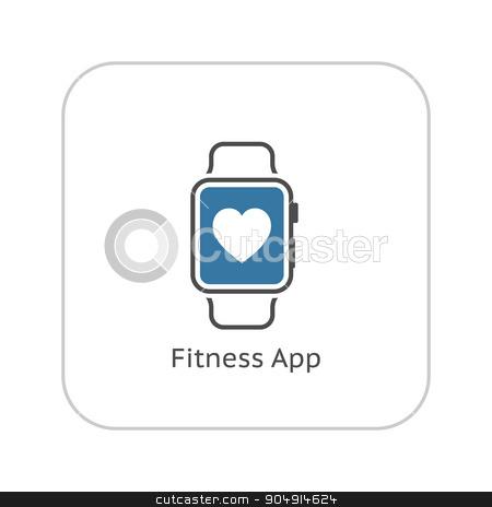 Fitness App Icon. Flat Design. stock vector clipart, Fitness App Icon with Leaves. Flat Design. Isolated. by Vadym Nechyporenko