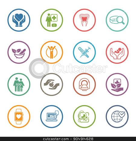 Medical and Health Care Icons Set. Flat Design. stock vector clipart, Medical and Health Care Icons Set. Flat Design. Isolated Illustration. by Vadym Nechyporenko