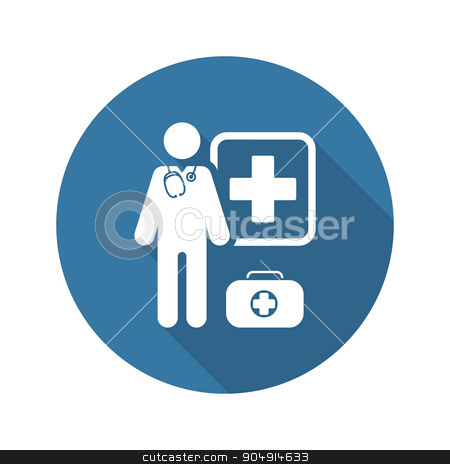 Doctor on Duty Icon. Flat Design. stock vector clipart, Doctor on Duty  Icon. Flat Design Isolated Illustration. by Vadym Nechyporenko