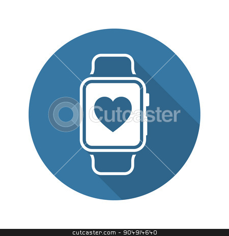 Fitness App Icon. Flat Design. stock vector clipart, Fitness App Icon with Leaves. Flat Design. Isolated. by Vadym Nechyporenko