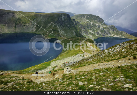 Amazing landscape of The Kidney and The Eye lakes stock photo, Amazing landscape of The Kidney and The Eye lakes, The Seven Rila Lakes, Bulgaria by Stoyan Haytov