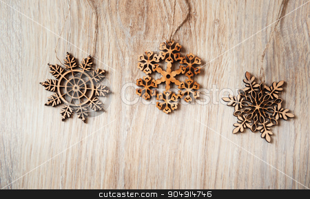 handmade wooden snowflakes Christmas composition stock photo, handmade wooden snowflakes Christmas composition. by timonko