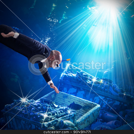 Find a treasure stock photo, Man finds trunks with treasures under water by Federico Caputo