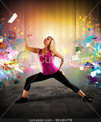 Fitness coach stock photo, Woman with bright and colorful effects background by Federico Caputo