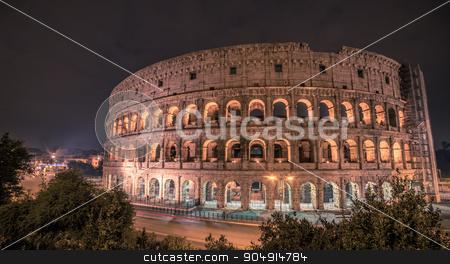 Rome, Italy: Colosseum, Flavian Amphitheatre stock photo, Rome, Italy: famous representatives Colosseum, Flavian Amphitheatre, at night of winter by krivinis