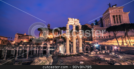 Rome, Italy: The Roman Forum and Old Town stock photo, Rome, Italy: The Roman Forum, Latin: Forum Romanum, Italian: Foro Romano, in the sunrise. Old Town of the city by krivinis