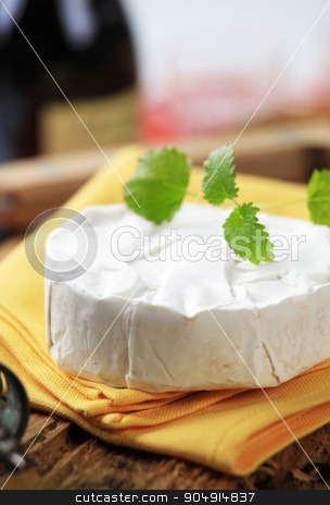 Soft white cheese stock photo, Wheel of soft white rind cheese by Digifoodstock