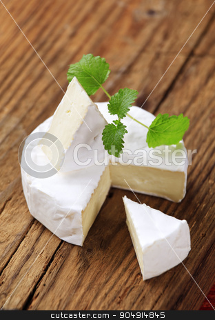 Soft white cheese stock photo, Soft cheese covered with edible white mold by Digifoodstock