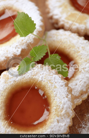 Jam biscuits stock photo, Jam biscuits sprinkled with icing sugar - detail by Digifoodstock