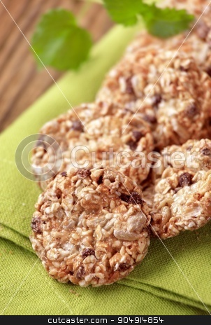 Healthy cookies  stock photo, Healthy cookies made from cereal, seeds and caramel by Digifoodstock