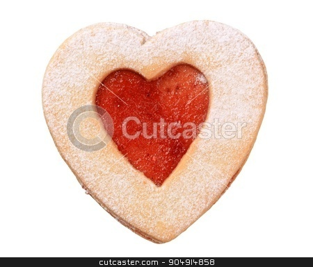 Heart shaped shortbread cookie  stock photo, Heart shaped shortbread cookie with jam filling by Digifoodstock