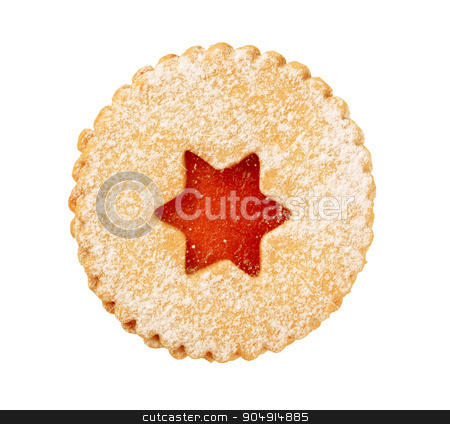 Jam shortbread cookie stock photo, Shortbread cookie with jam filling - cutout by Digifoodstock