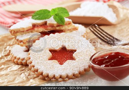 Jam shortbread cookies stock photo, Christmas shortbread cookies with jam filling - detail by Digifoodstock