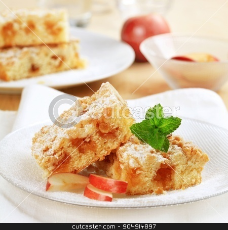 Apple crumb cake stock photo, Pieces of apple crumb cake by Digifoodstock