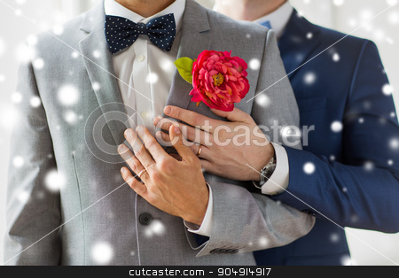 close up of happy male gay couple stock photo, people, homosexuality, same-sex marriage and love concept - close up of happy married male gay couple in suits with buttonholes and bow-ties on wedding over snow effect by Syda Productions