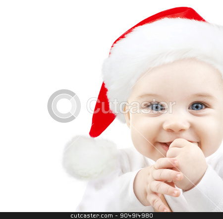 happy baby in santa hat stock photo, christmas, babyhood, childhood and people concept - happy baby in santa hat over white by Syda Productions