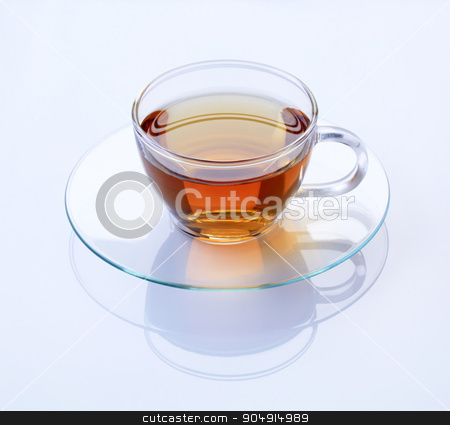 Hot tea stock photo, Hot black tea in a glass cup by Digifoodstock